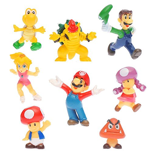 "OliaDesign Super Mario Brothers Figures Set (8 Piece), 1.5"" Small"