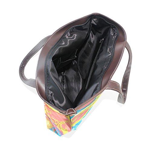 Coosun Womens bunte abstrakte Kunst Pu Leder große Einkaufstasche Griff Umhängetasche
