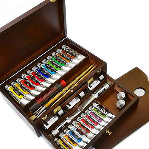 (Royal Talens - Rembrandt Oil Colour Box - Master Gold Edition in Wooden Chest - With Paints, Palette, and Brushes)