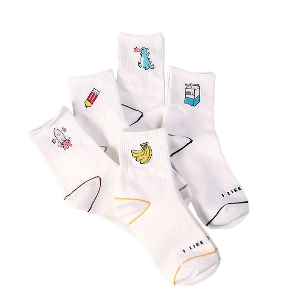 GOOTRADES Women Cute Design Casual Cotton Socks (5 Pairs)