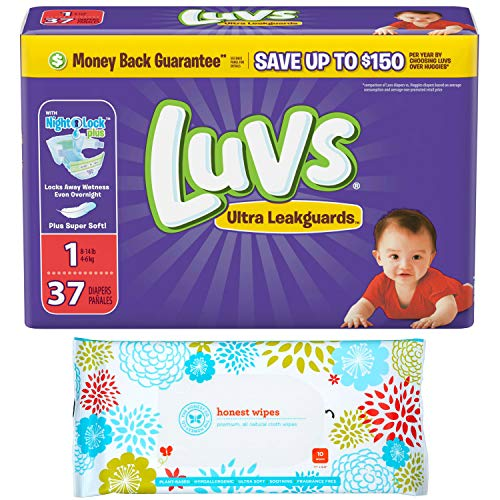 - Luvs Diapers Size 1 Overnight Disposable (37ct) (8-14lbs) Bundle with Bonus Honest Baby Wipes (10ct)