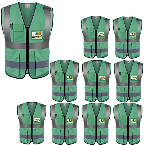 ZOJO High Visibility Safety Vests,Lightweight Mesh Fabric, Wholesale Reflective Vest for Outdoor Works, Cycling, Jogging, Walking,Sports - Fits for Men and Women (Pack of 10, Green) by zojo (Image #8)