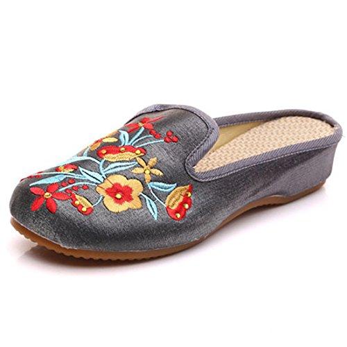 Soie à Casual Coins Pantoufles Femmes Chinois Gris brodées Fleurs Sauvages en Silvestre Flor élégantes Chaussures qUOTf