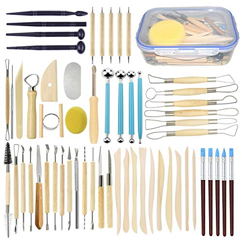 Augernis 57PCS Ceramic Clay Tools Set with Plastic Case Modeling Pottery Sculpting Tools Kits for Beginners Professionals Kids After School Ceramics Classes