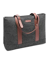 DTBG 15.6Inches Laptop Tote Bag Canvas Shoulder Bag Women Briefcase Lightweight Handbag with Padded Compartment for Work Business Travel Shopping(Dark Grey)
