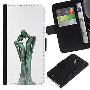 KingStore / Leather Etui en cuir / Samsung Galaxy S4 Mini i9190 / Figura Estatua Arte Hombre Mujer;