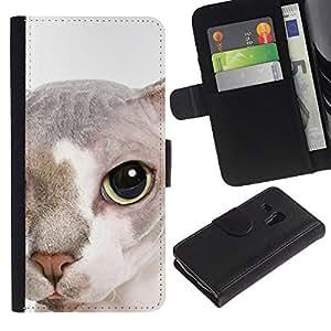 Peterbald Bambino Cat Hairless Face - la tarjeta de Crédito Slots PU Funda de cuero Monedero caso cubierta de piel Samsung Galaxy S3 MINI 8190