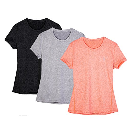 icyZone Women's Ultimate Short-Sleeve Workout Running Yoga Fitness Sports tshirts (Pack of 3) (S, Black/Granite/Orange)