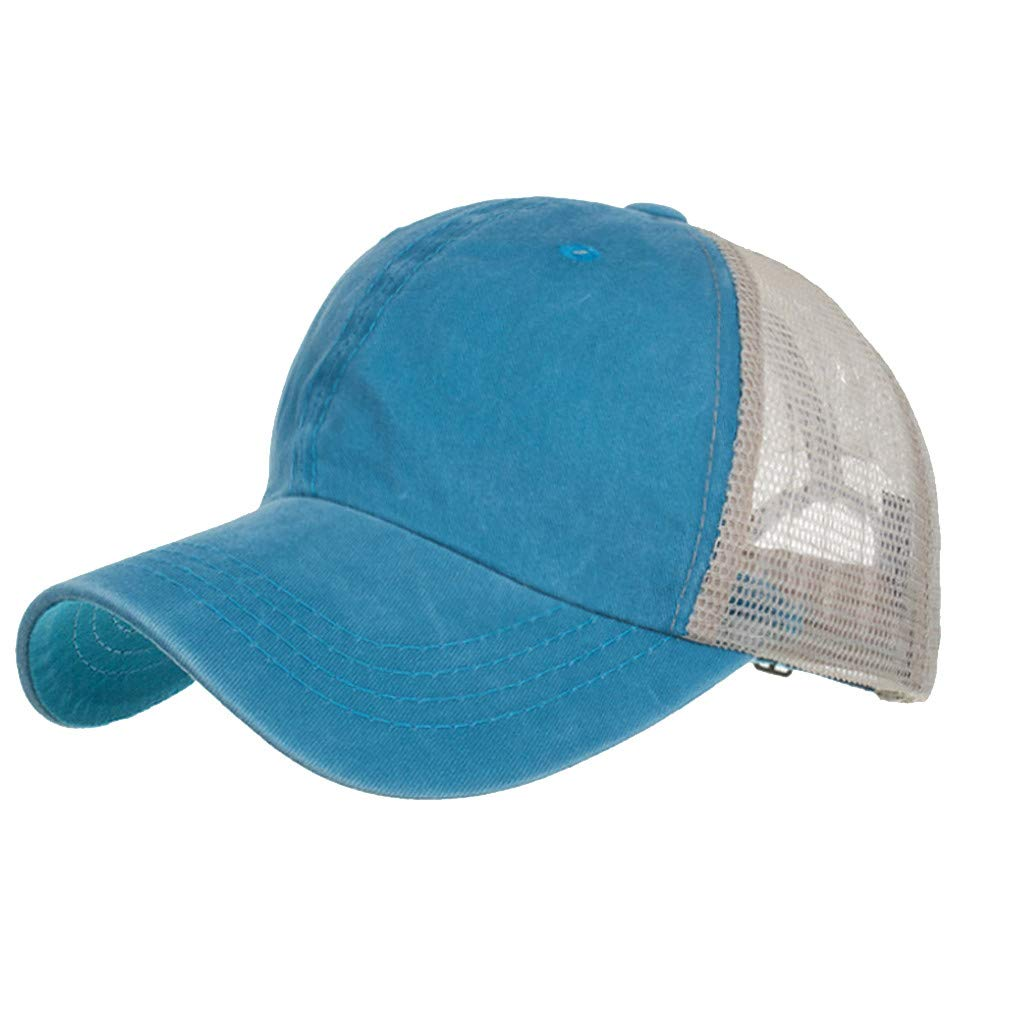 Outdoor Sport Hats Unisex Summer Baseball Cap Washed Cotton Hat Casual Cap Sky Blue