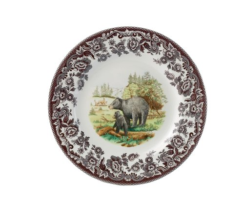 American Wildlife Collection Dinner Plate (Spode Woodland American Wildlife Black Bear Dinner Plate)