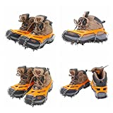 1 Pair Orange Color Size M / L Outdoor 8 Teeth Non-slip Ice Snow Slip Climbing Anti-slip Shoes for Winter Spike Cleats Ramponi