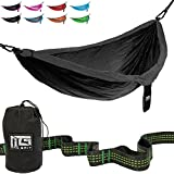 Image of The Best Double Camping Hammock Includes: 2 Free Bonus Hanging Tree Straps and Carabiners - Ultralight Portable Compact Parachute Nylon Perfect for Outdoor Backpacking, Beach, Backyard, Camping.