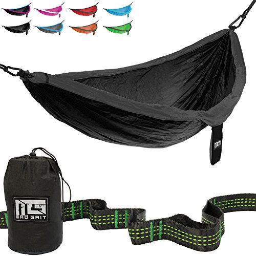 Best Deal! Double Parachute Camping Hammock With Straps & Carabiners by Mad Grit (Cool Easter Gifts)