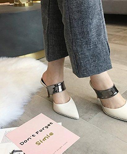 Des 39 hauts chaussons chaussures Des de Femmes casual Été de Loisirs chaussures Baotou Mode La Cool 9cm Ajunr talons Retro L'abricot S8Uxwqq