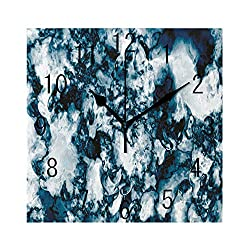 GULTMEE Square Wall Clock Home Decorative, Unusual Gemstone Onyx Rock Nature Pattern with Vintage Paintbrush Effects, 7.8x7.8