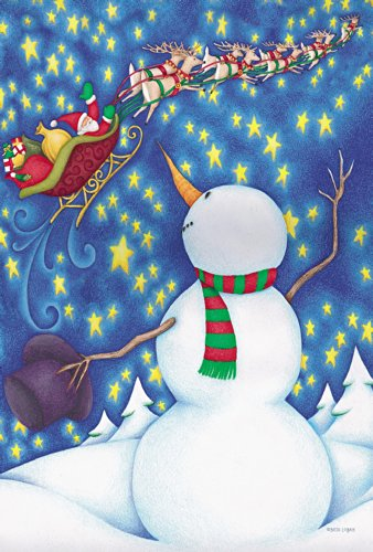 Toland Home Garden To All A Goodnight 12.5 x 18 Inch Decorative Winter Snowman Santa Sleigh Christmas Garden Flag ()