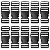Plastic Buckle 1 Inch   Dual Adjustable Quick Side Release Replacement Clips with Slides for Dog Collars, Webbing Strap and Backpack Repair   Black, 10 Sets