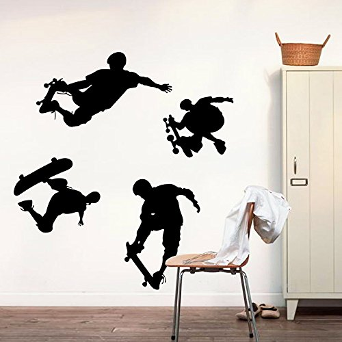 Playing Skateboards Sports Wall Decal Home Sticker PVC Murals Vinyl Paper House Decoration WallPaper Living Room Bedroom Kitchen Art Picture DIY for kids Teen Senior Adult Nursery Baby Skateboard Wall Murals
