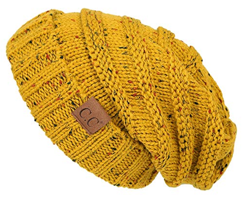 H-6100-2072 Funky Junque Oversized Beanie - Mustard (Confetti)