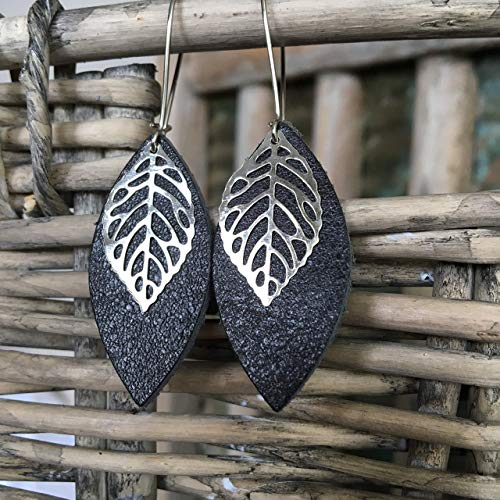 Leather Leaf Earrings - Pewter Gray Leather Petal with Metal Leaf Charm ()