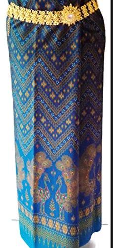 PunPund Thai Silk Fabric Peacock Sarong wrap Dress Synthetic Wedding Luxury Women (Silk Thai Wedding Dress)