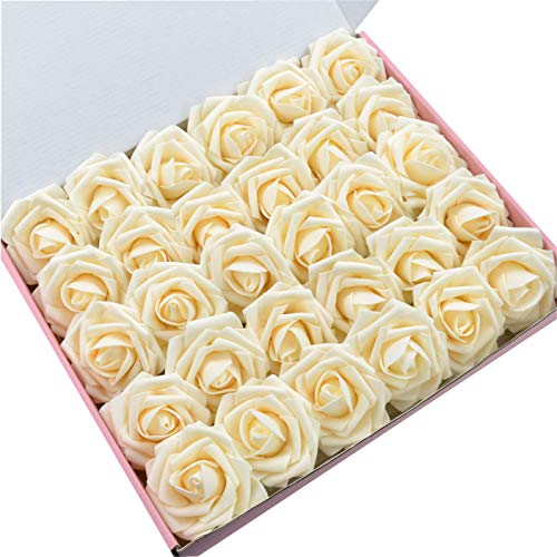 DerBlue 60pcs Artificial Roses Flowers Real Looking Fake Roses Artificial Foam Roses Decoration DIY for Wedding Bouquets Centerpieces,Arrangements Party Baby Shower Home Decorations (Lvory)