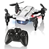 FuriBee Foldable Mini Drone, H815 Remote Control Quadcopter RC Drone with LED Night Light 6-Axis Gyro Helicopter -Altitude Hold, One Key Return Flying UFO Best Gift for Kids, Adults (Sliver)