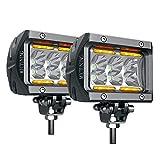 #8: LED Pods MICTUNING Unlimited-GO K1 2Pcs 4 Inch 18W Off Road Flood LED Light Bar 1620lm with Amber Marker Light