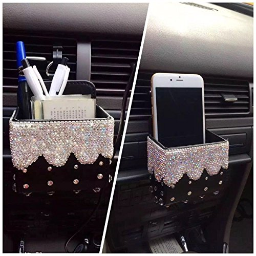 - TISHAA Bling Crystal Car Air Vent Mobile Cellphone Pocket Bag Pouch Box Storage Organizer Carrying Case (1 White Teardrop Crystal BLk PU)