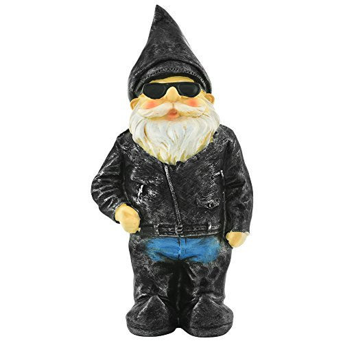 Biker Garden Gnome Statue By Besti - Father's Day Outdoor Garden Figurine In Motorcycle Leather Jacket - Excellent Garden Ornament / Yard Art - Funny Lawn Statue - Perfect Gift Idea 8-3/4