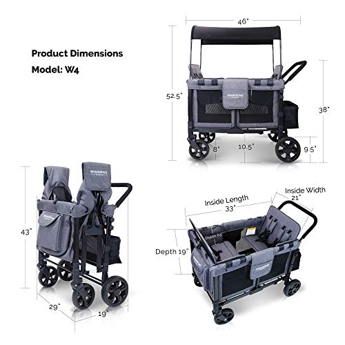 WonderFold Baby Multi-Function Four Passenger Wagon Folding Quad Stroller with Removable Reversible Canopy Seats up to 4 Toddlers, Gray