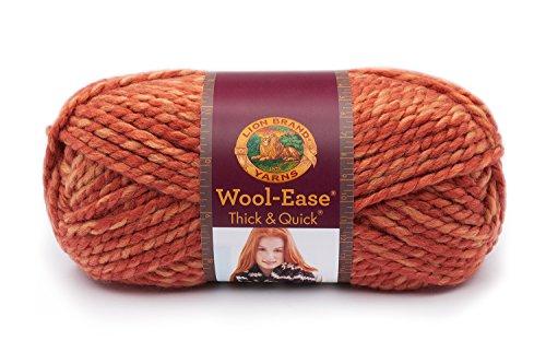 Lion  640-524 Wool-Ease Thick & Quick Yarn , 97 Meters, Tangerine (Tangerine Wool)