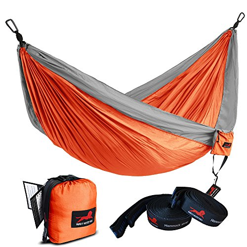 HONEST OUTFITTERS Single Camping Hammock With Hammock Tree Straps,Portable Parachute Nylon Hammock for Backpacking travel Orange/Grey 55