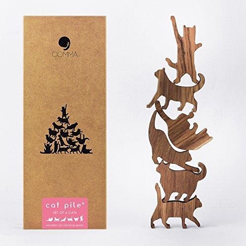 COMMA Jumbo Wooden Cat Pile Set #1 (Pink Label, 6 Kittens)