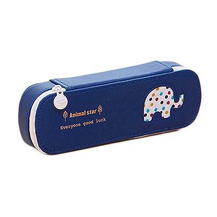 Display08 - Estuche para lápices de delfines con diseño de elefante de oso con lunares, bolsa de maquillaje, color azul marino: Amazon.es: Oficina y papelería