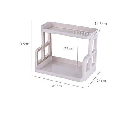 YANW-SHELF 2 Capas El Plastico Estante De Cocina Horno Microondas Caja De Condimentos Rejilla