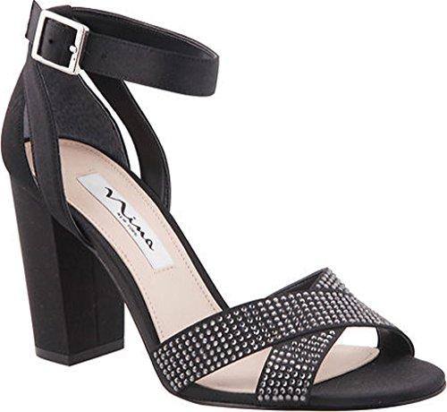 Black Shelly Luster Strap Evening Nina Sandals Ankle RPqq14