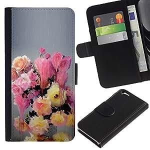 All Phone Most Case / Oferta Especial Cáscara Funda de cuero Monedero Cubierta de proteccion Caso / Wallet Case for Apple Iphone 6 // Painting Flowers Pastel Colors