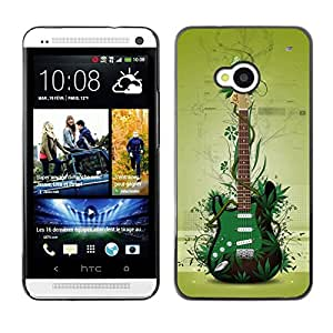 Impact Case Cover with Art Pattern Designs FOR HTC One M7 Green Guitar Betty shop