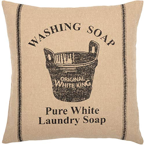 (VHC Brands Valley Farms Soap Wooden Tub Farmhouse Pillow Cover 16x16)