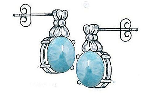 Sterling Silver Larimar Earrings BTS-NES2949 LR R