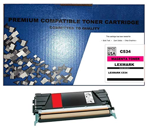 (ALL CITY USA REMANUFACTURED Toner Cartridge Replacement for LEXMARK C534 (Magenta) Extra HIGH Yield)
