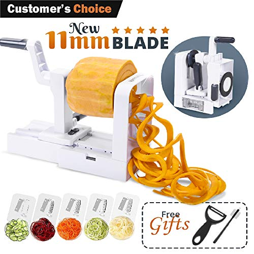 Lynworth Compact Foldable 5-Blade Vegetable Spiralizer: Best Spiral Slicer, Heavy duty Veggie Spaghetti Pasta Zoodle Maker for Healthy Low Carb/Paleo/Gluten-Free Meals With Extra 2 Gifts by Lynworth