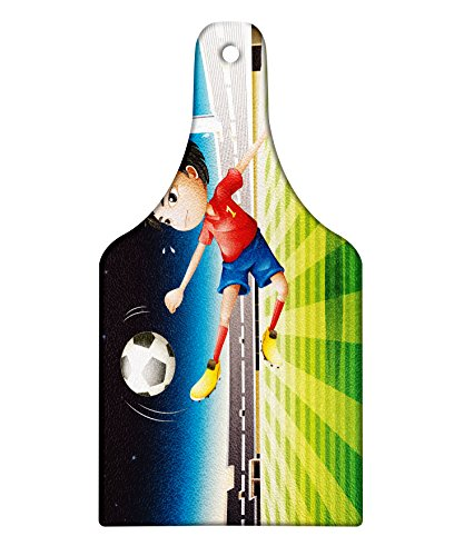 Lunarable Kids Cutting Board, Young Boy Playing Football in the Stadium Athlete Sports Soccer Championship Graphic, Decorative Tempered Glass Cutting and Serving Board, Wine Bottle Shape, Multicolor by Lunarable