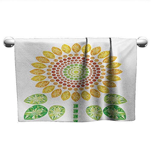 alisoso Sunflower,Face Towels Child Round Sunflower Mandala Design with Diamond and Pearl Figures Print Bath Towels for Kids Yellow White and Green W 28