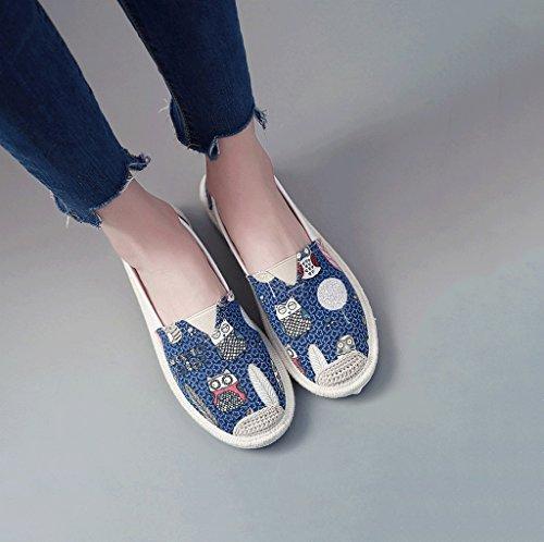 las o se pedal al la Un manera lona calza aire de del perezoso blanco Tama los de oras tablero respirable Blanco zapatos libre del los ocio Azul zapatos Color de de planos 36 44HAw6nqZ