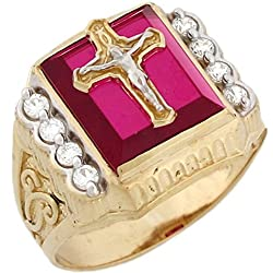 14k Two Tone Gold Simulated Ruby CZ Crucifix Cross Religious Mens Ring