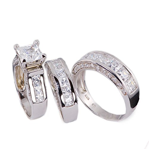 Sunee Jewelry And Gift 3pc His & Hers Princess Cut Cubic Zirconia Wedding Engagement Set Bridal Rings 925 Sterling Silver (His Size 10, Her 7) (His And Hers Wedding Ring Sets Sterling Silver)