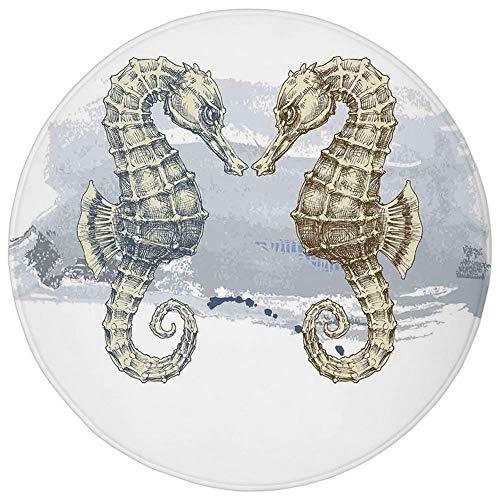 K0k2t0 Round Rug Mat Carpet,Animal Decor,Seahorse Lovers in Paintbrush Artisan Technique Grunge Splash on Background,Gray Cream,Flannel Microfiber Non-Slip Soft Absorbent,for Kitchen Floor Bathroom ()