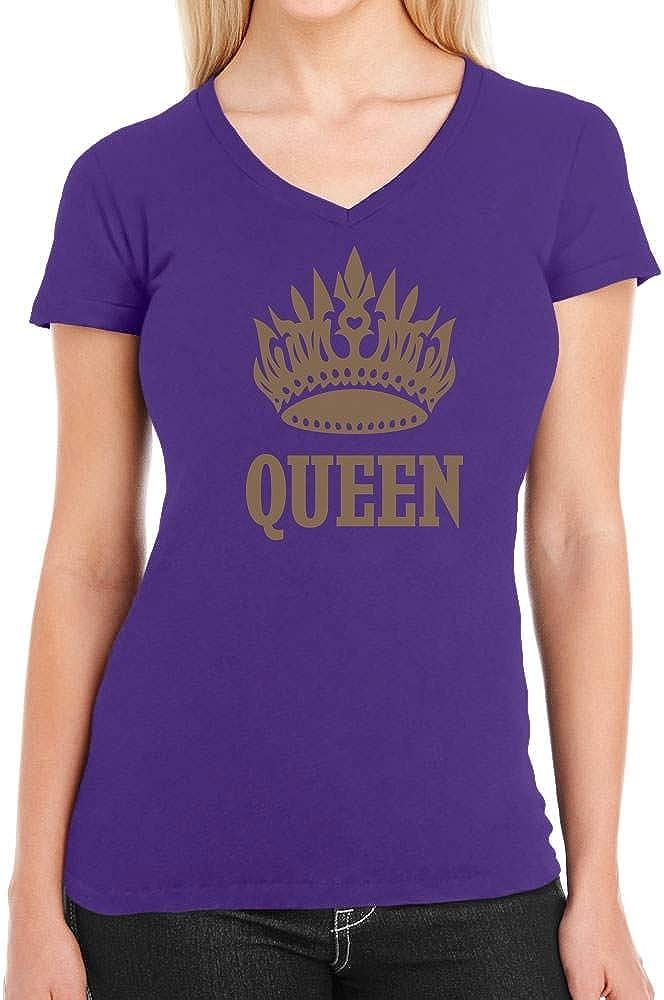Shirtgeil Queen Stampa Dorata con Corona e Scritta Maglietta Donna Scollo a V